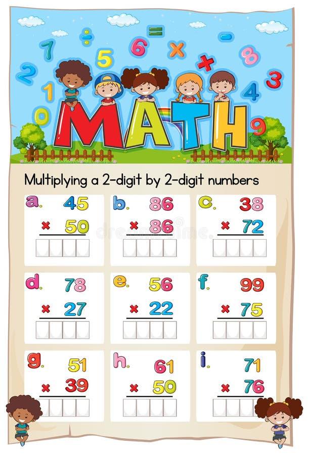Matematikarbetssedeln för multiplicerar siffra två vid två siffranummer royaltyfri illustrationer