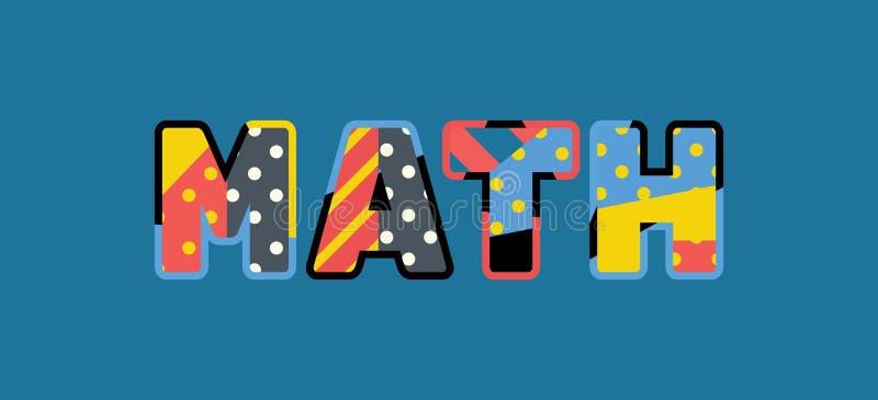 Matematikbegreppsord Art Illustration royaltyfri illustrationer