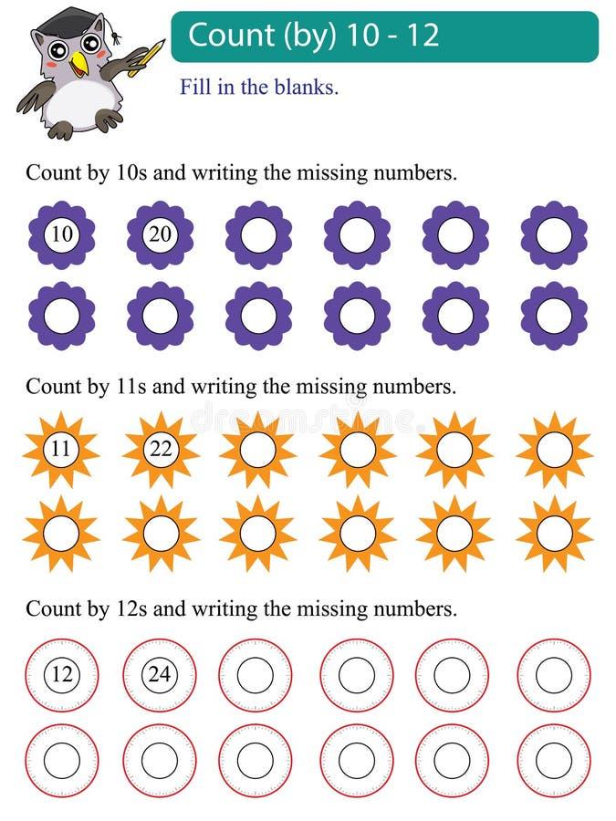 Matematikmultipelräkning vid 10 - 12 vektor illustrationer