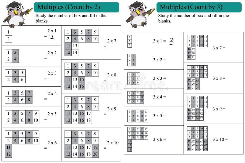 Matematikmultipelräkning vid 2 och 3 royaltyfri illustrationer