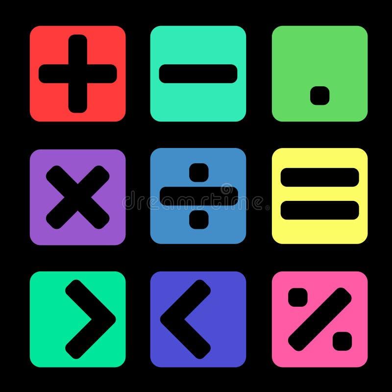 Matematiksymbol på svart bakgrund royaltyfri illustrationer