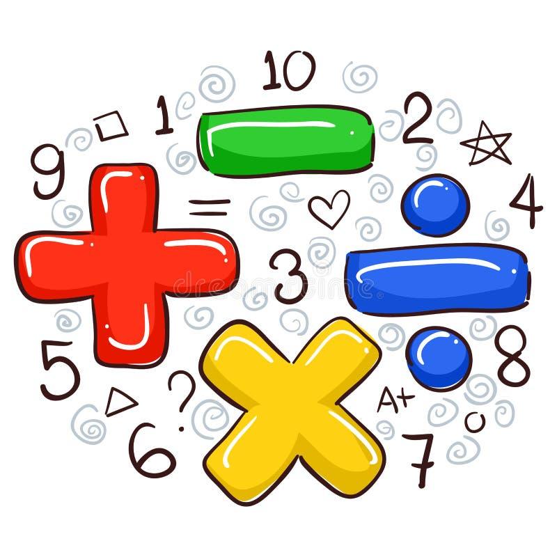 Matematiksymboler och nummer royaltyfri illustrationer