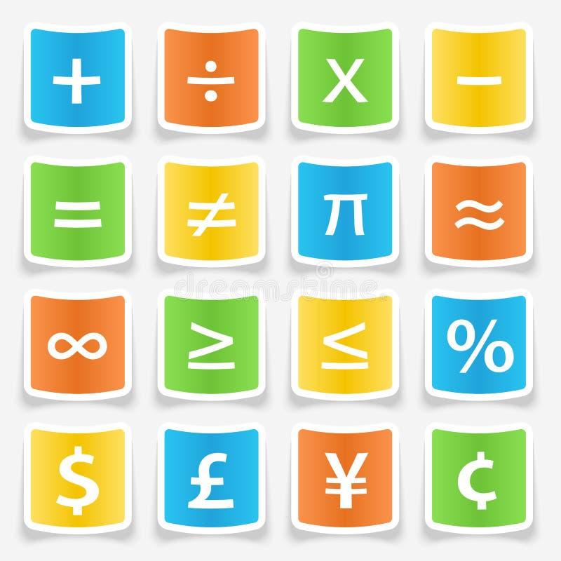 Matematiksymbolklistermärkear royaltyfri illustrationer