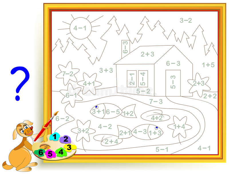 Matematisk arbetssedel för barn på tillägg och subtraktion Behöv lösa exempel och måla bilden i relevanta färger vektor illustrationer