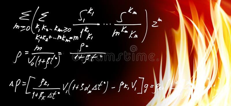 matematiska formler mot brandbakgrund royaltyfria bilder