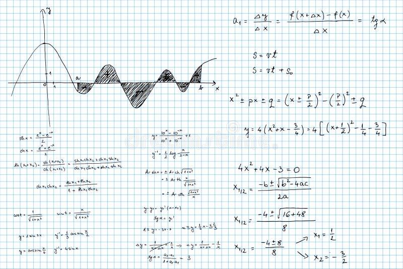 Matematiska skissade formler och grafer royaltyfria bilder