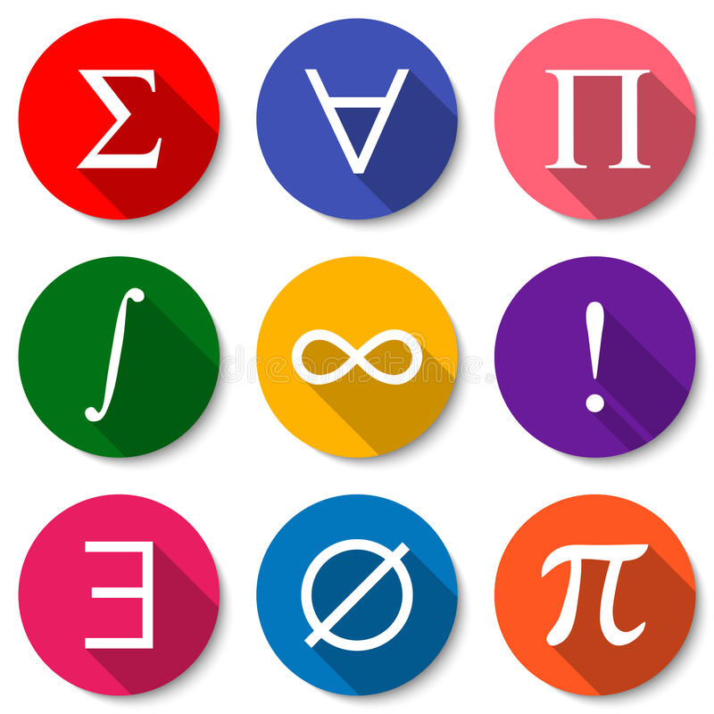 matematiska symboler Uppsättning av färgrika plana matematiksymboler med långa skuggor också vektor för coreldrawillustration vektor illustrationer