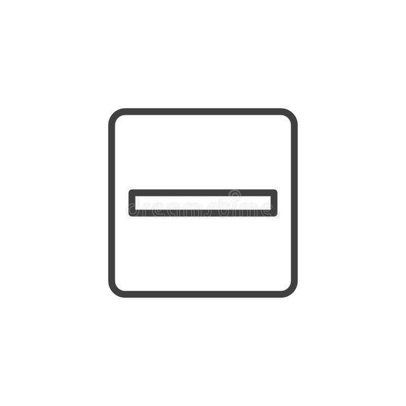 Matematiskt negativ översiktssymbol royaltyfri illustrationer