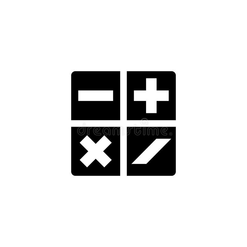 Matematiskt plus, Minus, multiplikation, plan vektorsymbol för uppdelning vektor illustrationer