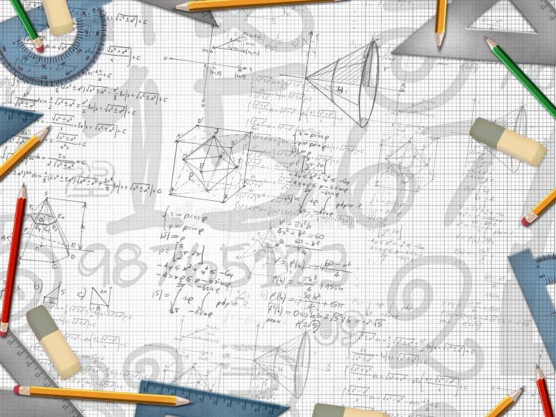 Matematiskt skola bakgrundsillustrationen vektor illustrationer