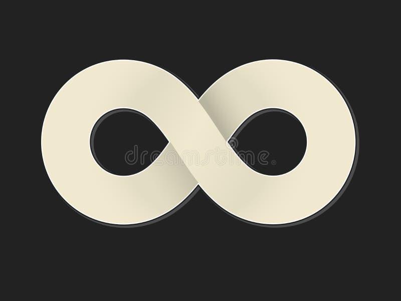Matematiskt symbol för oändlighet i plan stil med skuggor Isolerat p? svart royaltyfri illustrationer