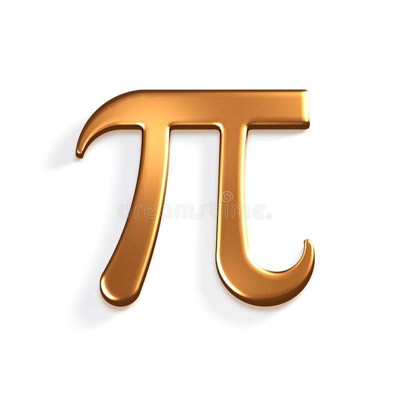 Matematiskt symbol för pinummerbrons illustrationen 3d framför royaltyfri illustrationer