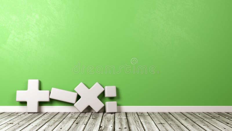 Matematiskt symbol mot den gröna väggen stock illustrationer