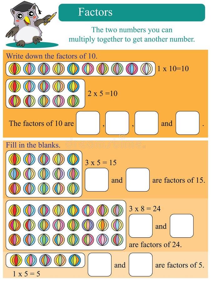 Matematycznie czynniki ilustracja wektor