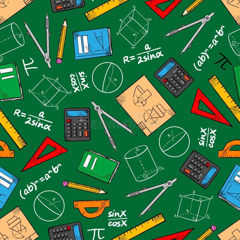Matematycznie edukaci bezszwowy deseniowy tło royalty ilustracja