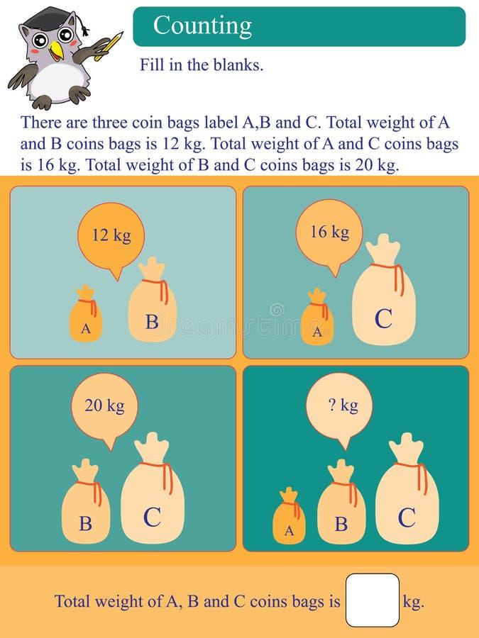 Matematycznie kalkulacyjne kilo monety torby ilustracji