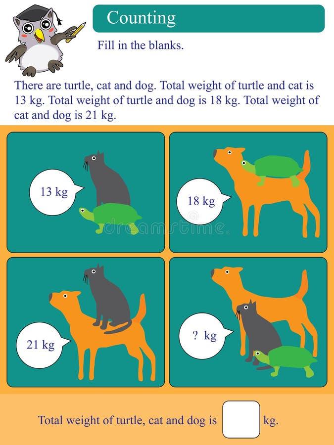Matematycznie kalkulacyjny kilogramowy zwierzę ilustracji