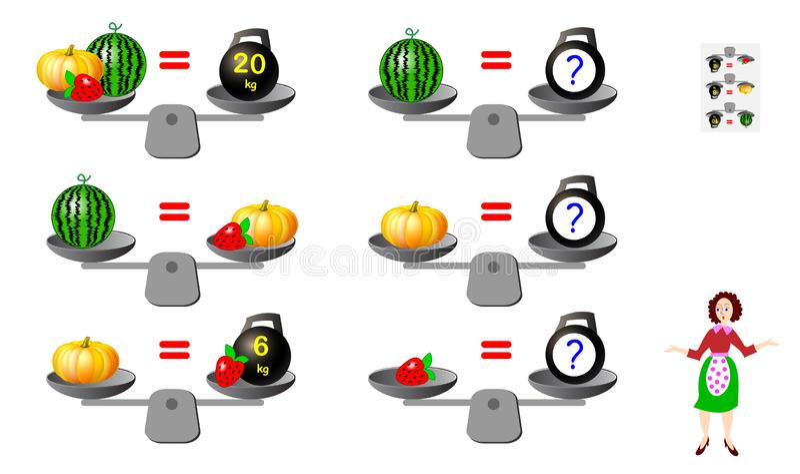 Matematycznie logiki łamigłówki gra dla dzieci i dorosłych Potrzeba kalkulować ciężar produkty Printable strona dla brainteaser k royalty ilustracja