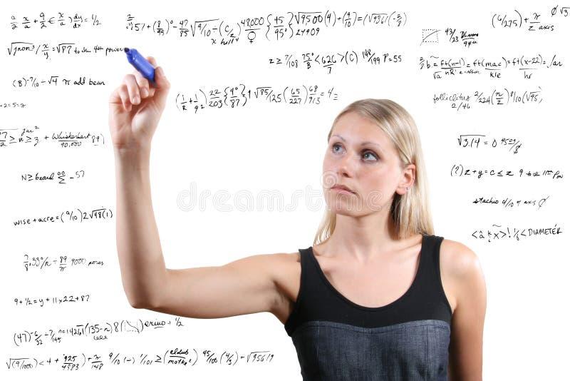 matematycznie równanie kobieta pisze obrazy royalty free
