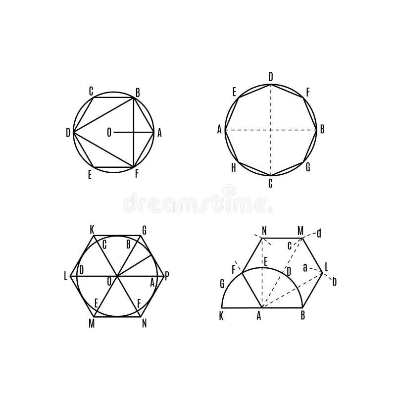 Matematycznie wektor z geometrical fabułami i postaciami ilustracja wektor