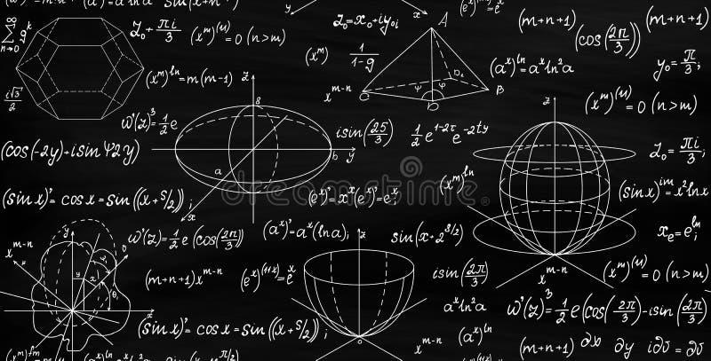 Matematycznie wektorowa bezszwowa niekończący się tekstura z formułami, postaciami i równaniami, ilustracji