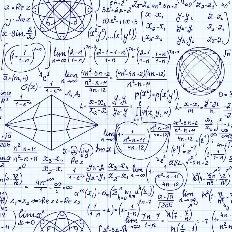 Matematycznie wektorowa bezszwowa nieko?cz?cy si? tekstura z formu?ami, postaciami i r?wnaniami, ilustracji