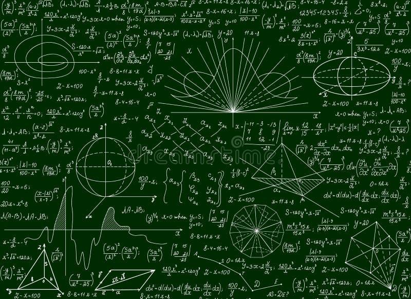 Matematycznie wektorowy naukowy techniczny bezszwowy wzór z ręcznie pisany formułami, obliczenia, równania na zielonym tle ilustracja wektor