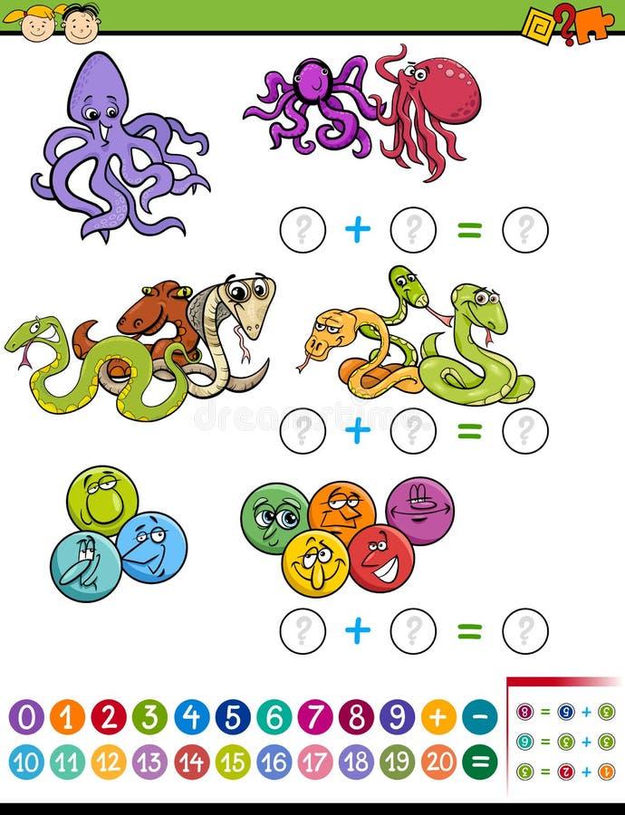 Matematycznie zadanie dla dzieci royalty ilustracja
