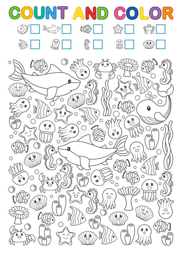 Matematyka ćwiczy dla nauki liczby Znalezisko, obliczenie i kolor, Printable worksheet dla dziecina i preschool instytuci royalty ilustracja