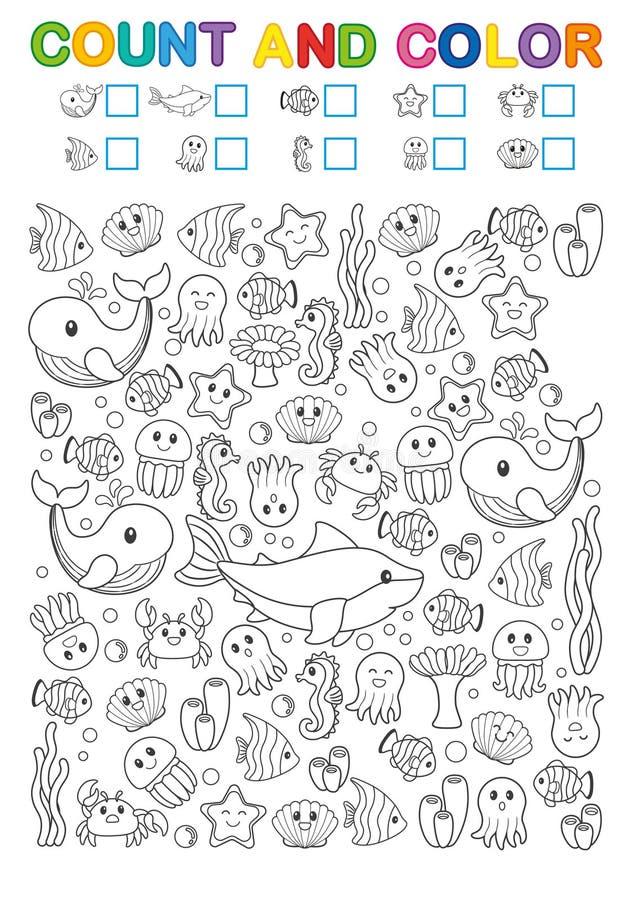 Matematyka ćwiczy dla nauki liczby Znalezisko, obliczenie i kolor, Printable worksheet dla dziecina i preschool instytuci ilustracji