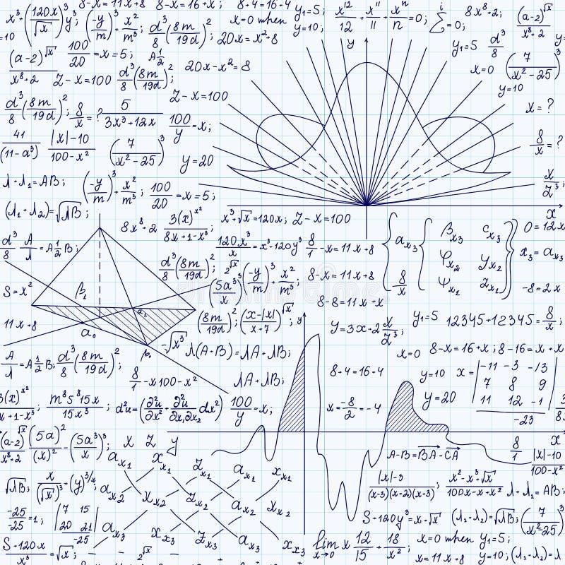 Matematyka edukacyjny wektorowy bezszwowy wzór z formułami równania i geometrical postacie na siatki copybook papierze ręcznie pi ilustracja wektor
