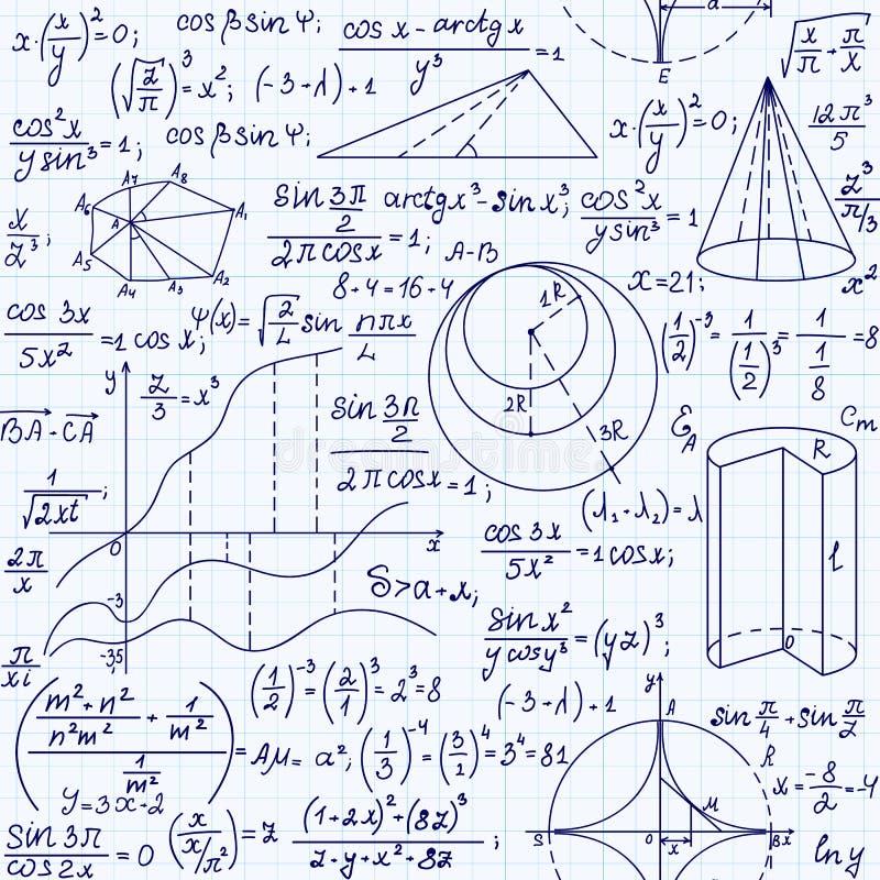 Matematyka edukacyjny wektorowy bezszwowy wzór z ręcznie pisany formułami, postaciami i równaniami, ilustracja wektor