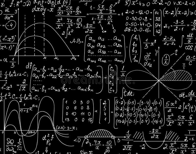 Matematyka naukowy wektorowy bezszwowy wzór z ręcznie pisany matrycami, formułami i algebra obliczeniami, ilustracja wektor