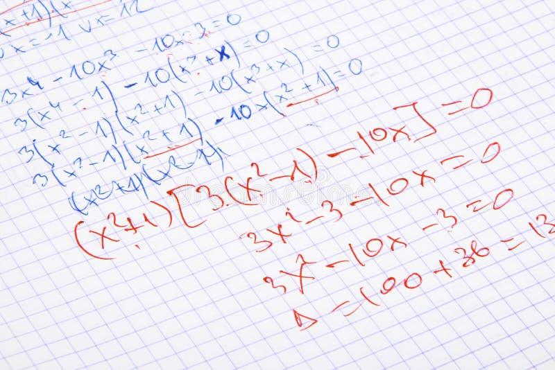 matematyka pisemne rąk fotografia royalty free