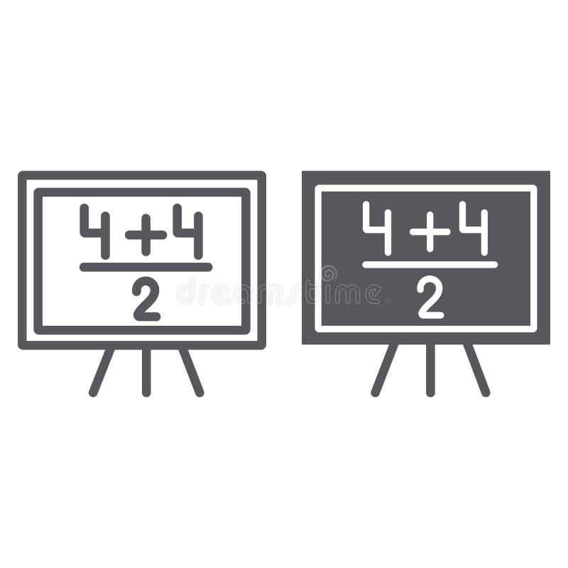 Matematyka przykładu linia i glif ikona z arytmetyka znakiem, lekcyjny i matematycznie, blackboard, wektorowe grafika, liniowy royalty ilustracja