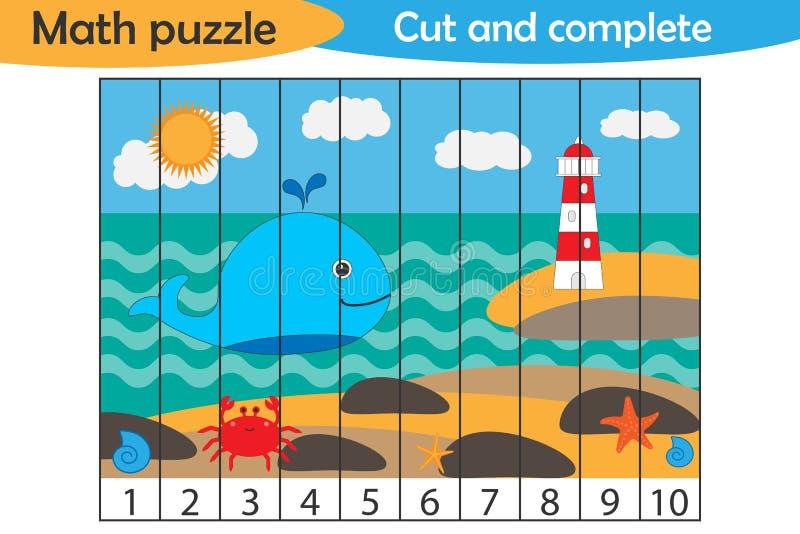 Matematyki łamigłówka, denny życie w kreskówka stylu, edukacji gra dla rozwoju preschool dzieci, używa nożyce, rżnięte części wiz ilustracja wektor