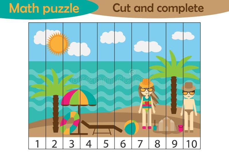 Matematyki łamigłówka, lato plaża w kreskówka stylu, edukacji gra dla rozwoju preschool dzieci, używa nożyce, rżnięte części ilustracji