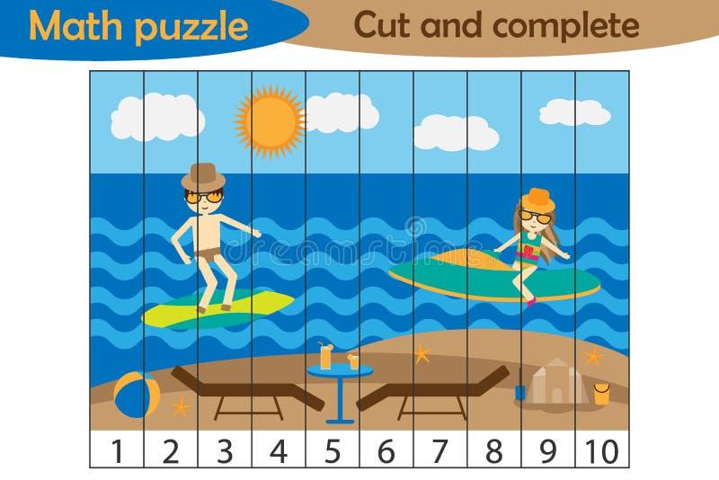 Matematyki łamigłówka, lato plaża z ludźmi w kreskówka stylu, edukacji gra dla rozwoju preschool dzieci, używa nożyce, cięcie ilustracja wektor