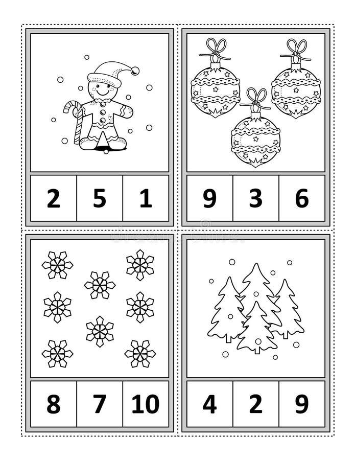 Matematyki aktywności strona dla dzieciaków - liczy, okrąża odpowiedź, kolor ilustracji