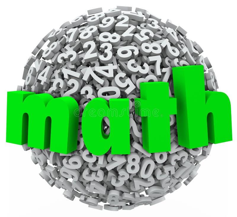 Matematyki Balowa sfera Liczy dodatku mnożenia 3d dane ilustracji