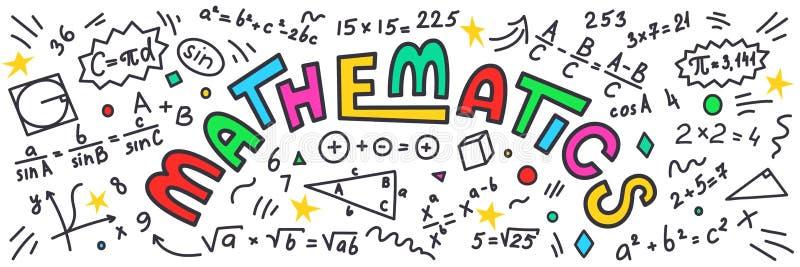matematyki Matematyki doodles z kolorowym literowaniem na białym tle royalty ilustracja