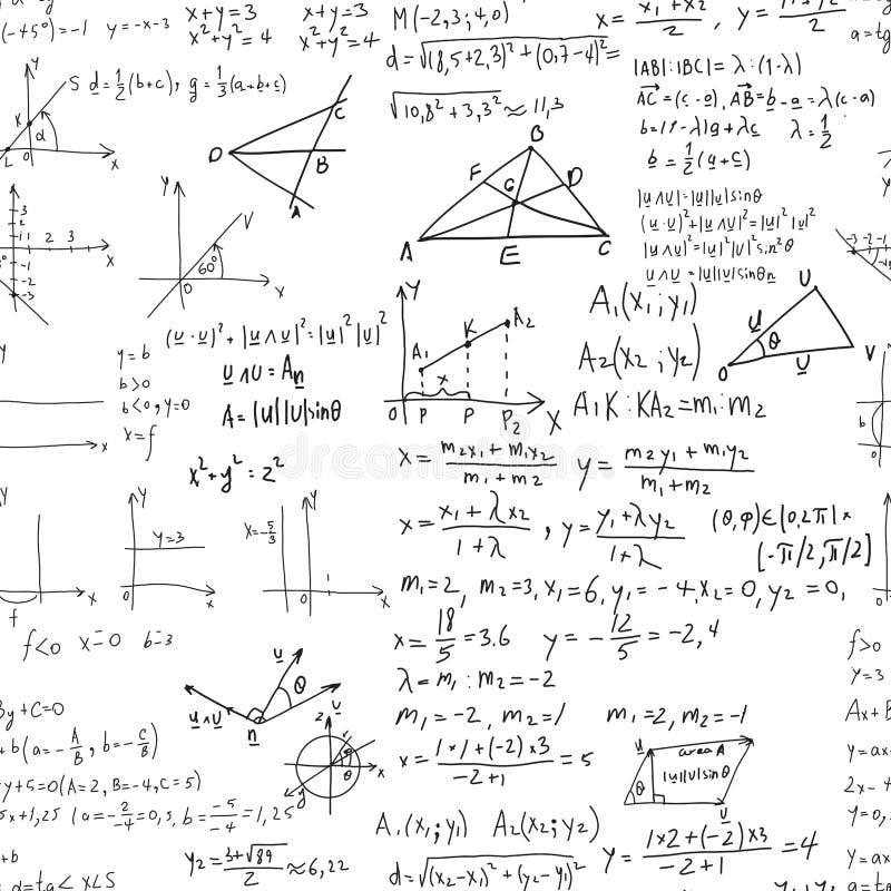Matematyki edukaci wektorowy bezszwowy wzór royalty ilustracja