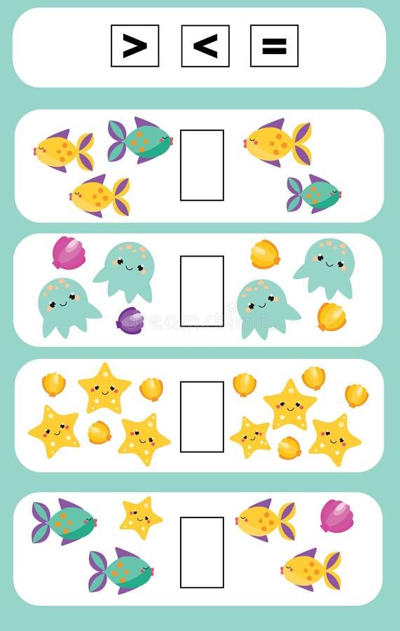 Matematyki edukacyjna gra dla dzieci Uzupełnia matematycznie równania zadanie, wybiera, więcej lub równy, mniej ilustracji