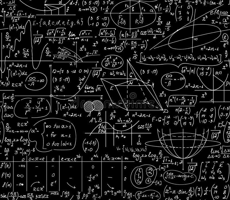 Matematyki edukacyjny wektorowy bezszwowy tło z ręcznie pisany formułami, postacie, obliczenia royalty ilustracja