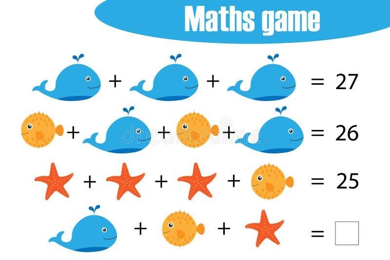 Matematyki gemowe z obrazkami oceanów zwierzęta dla dzieci, środek równy, edukacji gra dla dzieciaków, preschool worksheet aktywn royalty ilustracja