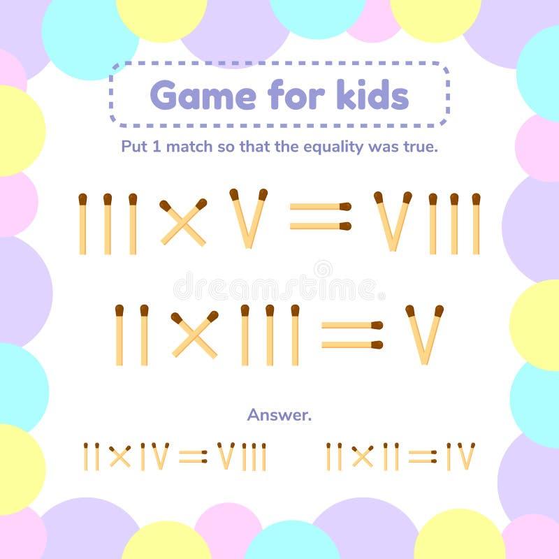 matematyki gra dla dzieciaków Stawia 1 matchstick tak, że równość był prawdziwa ilustracja wektor
