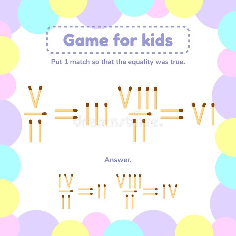 matematyki gra dla dzieciaków Stawia 1 matchstick tak, że równość był prawdziwa royalty ilustracja