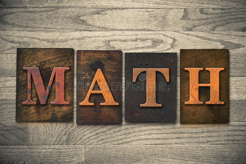 Matematyki Letterpress Drewniany temat zdjęcie stock