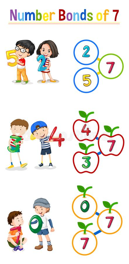 Matematyki liczby więzi 7 ilustracja wektor