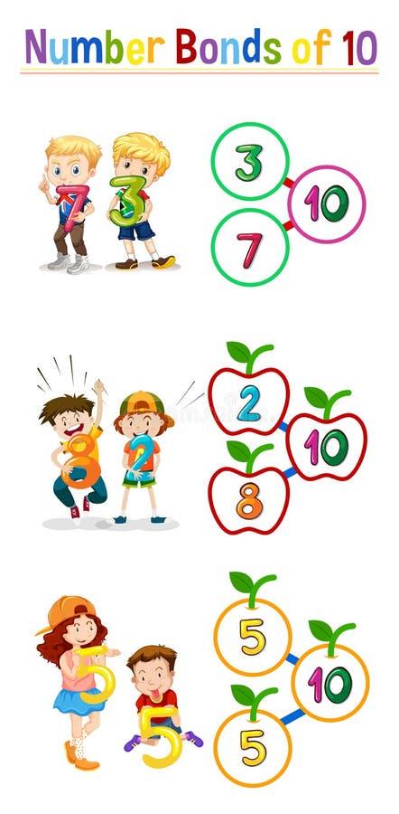 Matematyki liczby więzi 10 ilustracja wektor